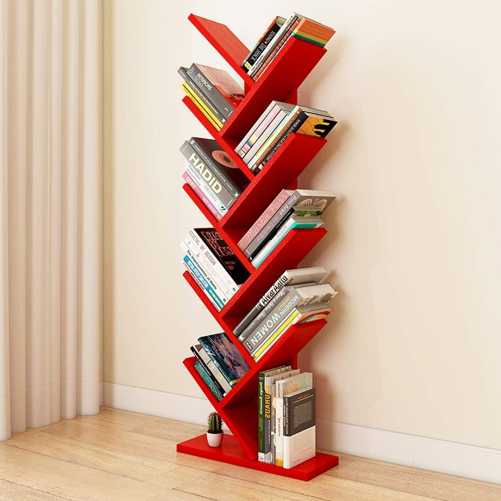 Bookshelf Solid Wood Floor to Ceiling Simple Tree Shaped Simple Floor Standing Shelf Study Bedroom Bookcase Color  Red Size  40x20x105cm